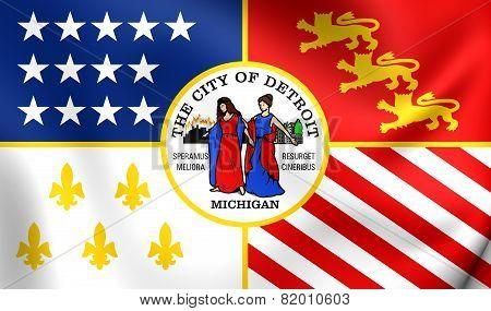 Flag Of Detroit, Usa.