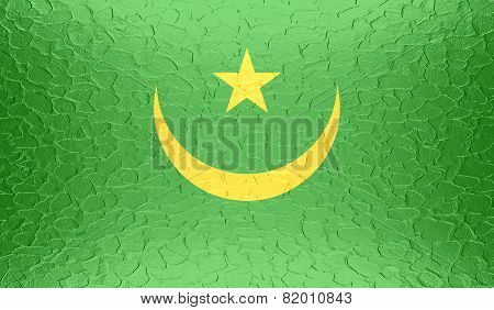 Mauritania flag on metallic metal texture