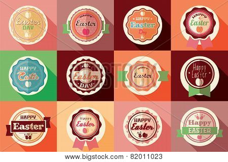 Collection Of Vintage Retro Easter Labels, Stickers, Badges And Ribbons, Vector Illustration