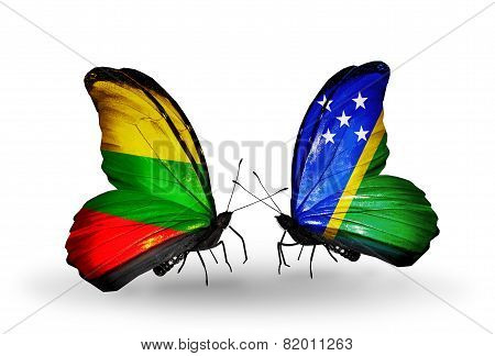 Two Butterflies With Flags On Wings As Symbol Of Relations Lithuania And Solomon Islands