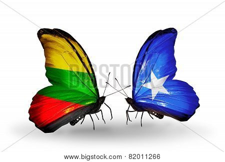 Two Butterflies With Flags On Wings As Symbol Of Relations Lithuania And Somalia