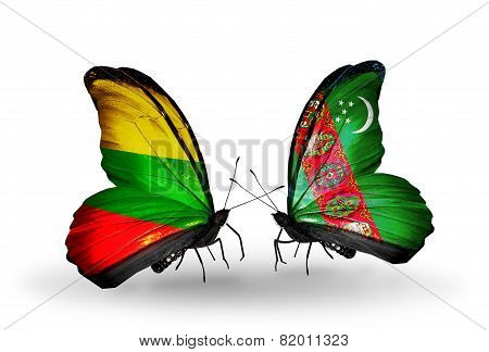 Two Butterflies With Flags On Wings As Symbol Of Relations Lithuania And Turkmenistan
