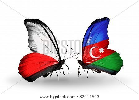 Two Butterflies With Flags On Wings As Symbol Of Relations Poland And Azerbaijan