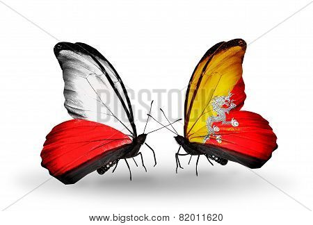 Two Butterflies With Flags On Wings As Symbol Of Relations Poland And Bhutan