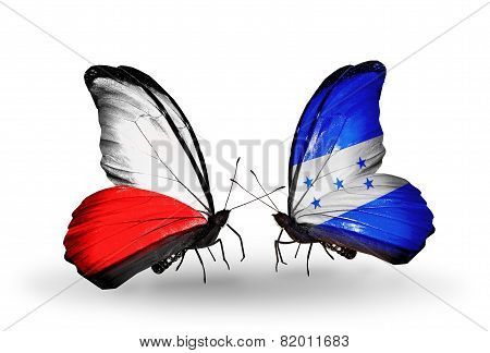 Two Butterflies With Flags On Wings As Symbol Of Relations Poland And Honduras
