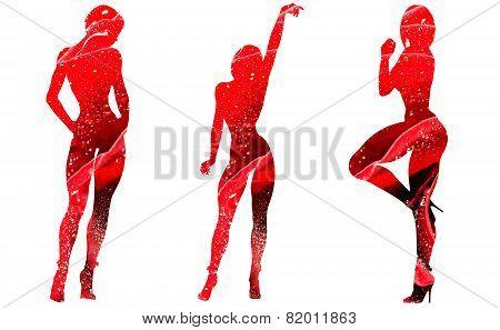 Double exposure-three female figures in roses