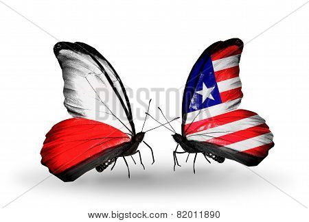Two Butterflies With Flags On Wings As Symbol Of Relations Poland And Liberia
