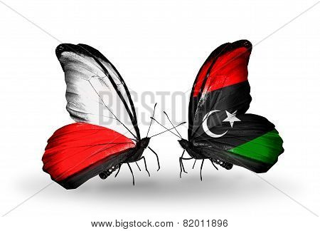 Two Butterflies With Flags On Wings As Symbol Of Relations Poland And Libya