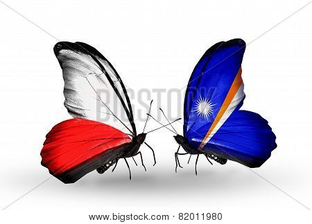 Two Butterflies With Flags On Wings As Symbol Of Relations Poland And Marshall Islands