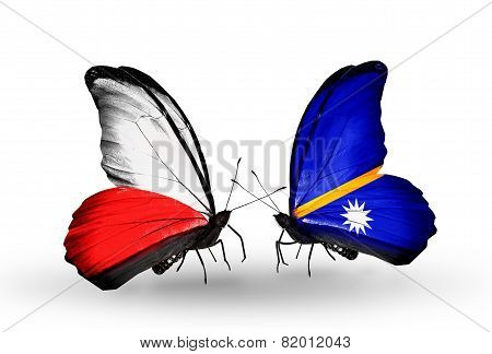 Two Butterflies With Flags On Wings As Symbol Of Relations Poland And Nauru