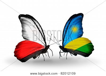 Two Butterflies With Flags On Wings As Symbol Of Relations Poland And Rwanda