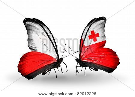 Two Butterflies With Flags On Wings As Symbol Of Relations Poland And Tonga