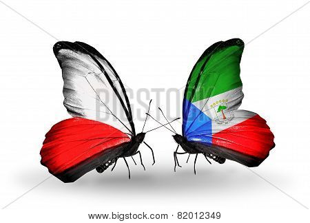 Two Butterflies With Flags On Wings As Symbol Of Relations Poland And Equatorial Guinea