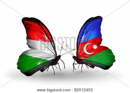 Two Butterflies With Flags On Wings As Symbol Of Relations Hungary And Azerbaijan