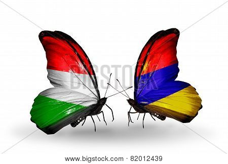 Two Butterflies With Flags On Wings As Symbol Of Relations Hungary And Armenia