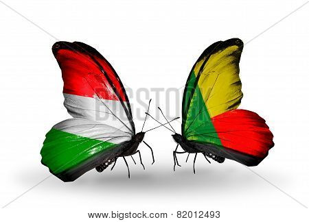 Two Butterflies With Flags On Wings As Symbol Of Relations Hungary And Benin