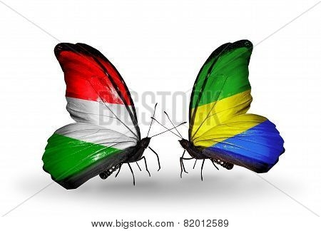 Two Butterflies With Flags On Wings As Symbol Of Relations Hungary And Gabon