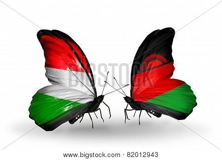 Two Butterflies With Flags On Wings As Symbol Of Relations Hungary And Malawi