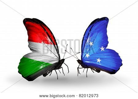 Two Butterflies With Flags On Wings As Symbol Of Relations Hungary And Micronesia