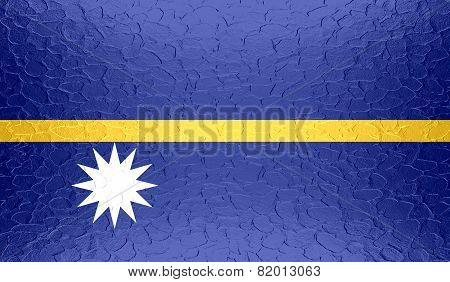 Nauru flag on metallic metal texture