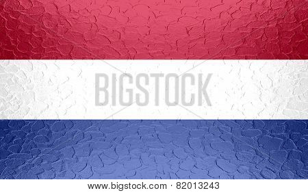 Netherlands flag on metallic metal texture