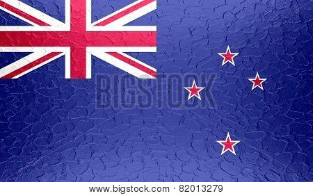 New Zealand flag on metallic metal texture