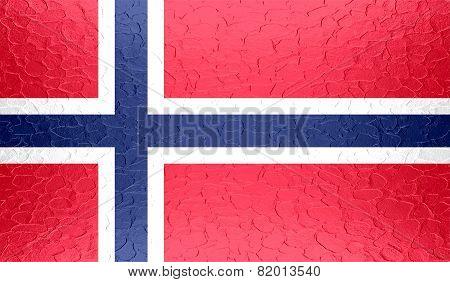 Norway flag on metallic metal texture