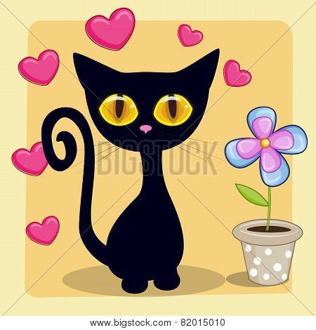 Black Kitten With Heart And Flower