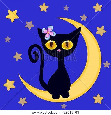 Cute Black Kitten On The Moon