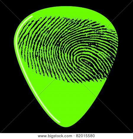 guitar pick with a fingerprint on it