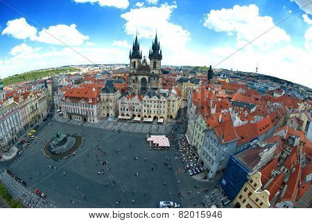 Houses With Traditional Red Roofs In Prague Old Town Square In The Czech Republic. Fisheye Lens Top