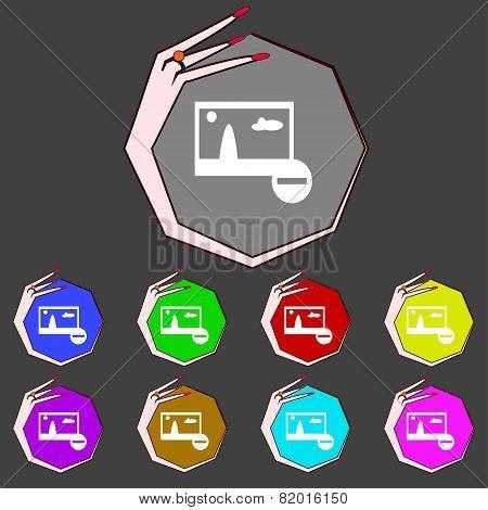 Minus File Jpg Sign Icon. Download Image File Symbol. Set Colourful Buttons. Modern Ui Website Navig