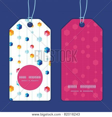 Vector abstract hanging jewels striped vertical round frame pattern tags set