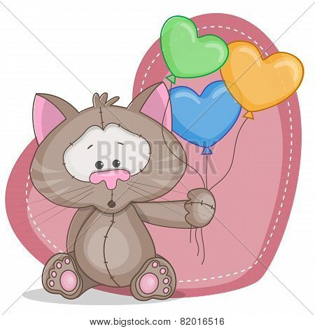 Cat With Baloons
