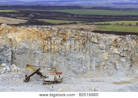 Digged Quarry Against The Nature