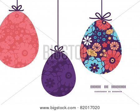 Vector colorful bouquet flowers hanging Easter eggs ornaments sillhouettes frame card template