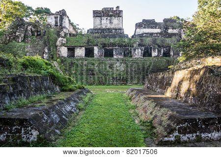 Mayan Ball Court At Tikal, National Park. Traveling Guatemala, Central America.