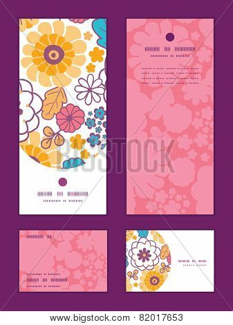 Vector colorful oriental flowers vertical frame pattern invitation greeting, RSVP and thank you card