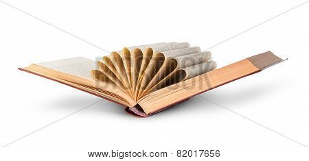 Ajar Old Book With Curled Pages