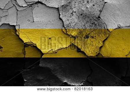 Flag Of Novorossiya Painted On Cracked Wall