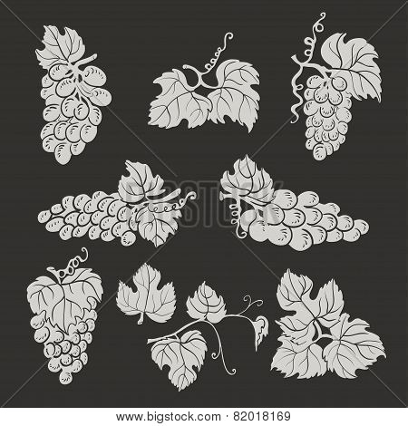 Collection Of Silhouette Grapes, Leaves And Branches On Dark Background