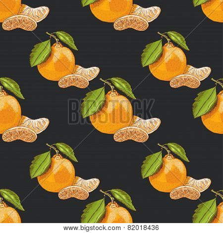 Seamless Pattern With Mandarins On Dark Background