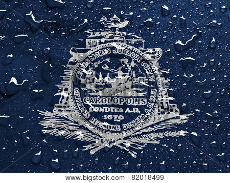 flag of Charleston with rain drops