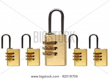 Metaphor of countermeasure in computer system / security locks with passwords on isolated background