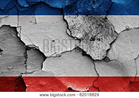 Flag Of Crimea Painted On Cracked Wall