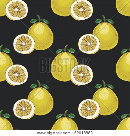Seamless Pattern With Pomelos On Dark Background