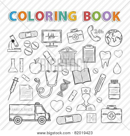 Vector coloring book.Medical set.