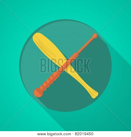 Baton flat color vector icon