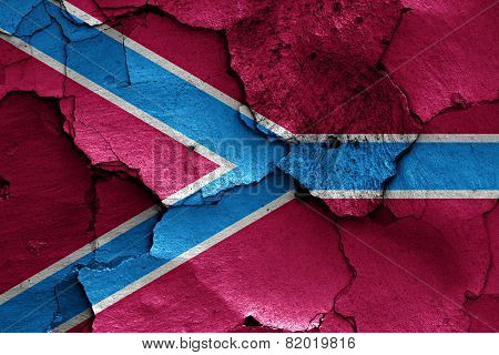 Flag Of Druzhkivka Painted On Cracked Wall