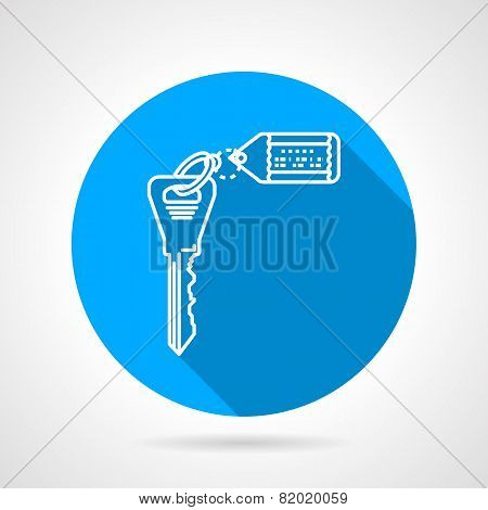 Flat round vector icon for key with tag